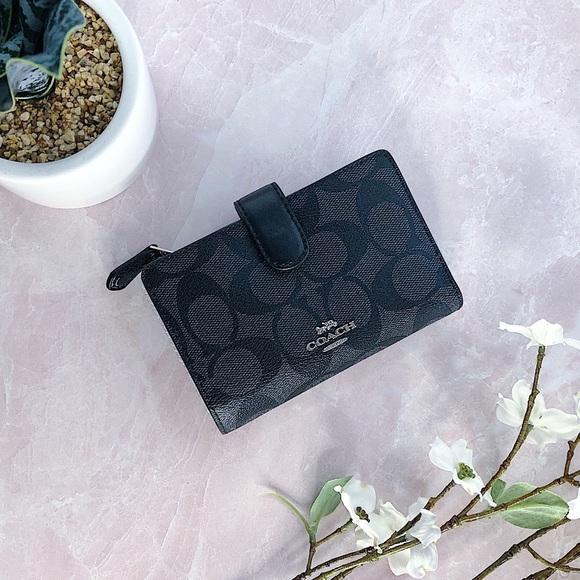 Coach Handbags - COACH Medium Corner Zip Wallet Black Silver